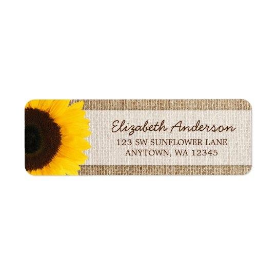 Sunflower Rustic Burlap Address Labels