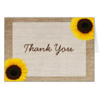 Sunflower Rustic Burlap Thank You Card