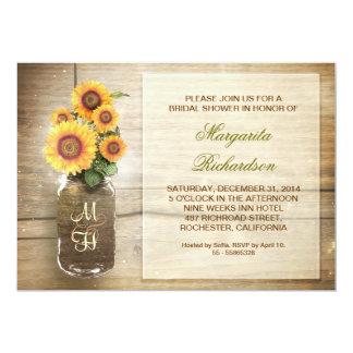"sunflower rustic mason jar bridal shower invites 5"" x 7"" invitation card"