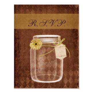 "sunflower rustic mason jar wedding rsvp 4.25"" x 5.5"" invitation card"