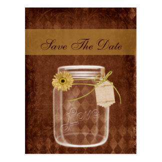 sunflower rustic mason jar wedding save the date postcard