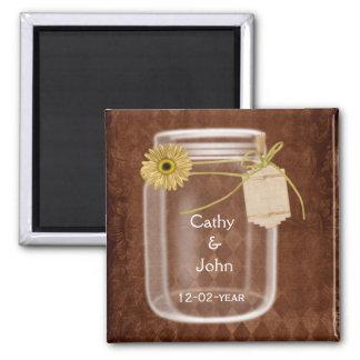sunflower rustic mason jar wedding save the date square magnet