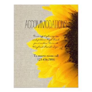 "Sunflower Rustic Wedding Accommodations Card 4.25"" X 5.5"" Invitation Card"