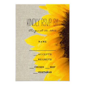 Sunflower Rustic Wedding RSVP Card