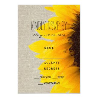 "Sunflower Rustic Wedding RSVP Card 3.5"" X 5"" Invitation Card"