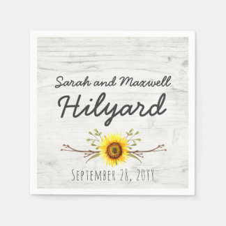 Sunflower & Rustic Wood Farm Country Wedding Paper Napkin