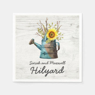 Sunflower & Rustic Wood Farm Country Wedding Paper Napkin