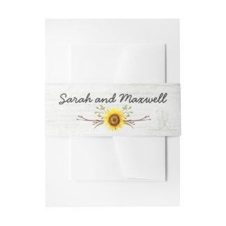Sunflower & Rustic Wood Farm Wedding Invitation Invitation Belly Band