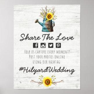 Sunflower & Rustic Wood Wedding Hashtag Photo Sign