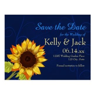 Sunflower/Save the Date Blue wedding Postcard