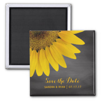 Sunflower Save the Date Country Chalkboard Wedding Magnet