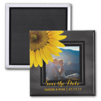 Sunflower Save the Date Country Wedding Photo Magnet