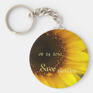 Sunflower Save the Date Keychain