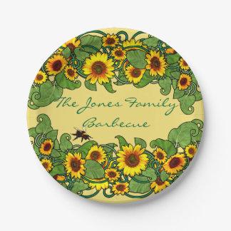 Sunflower Scroll Paper Plate