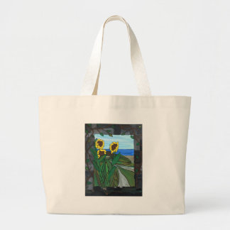 Sunflower seascape large tote bag