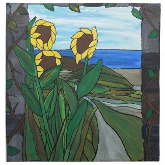 Sunflower seascape napkin