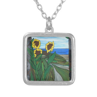 Sunflower seascape silver plated necklace