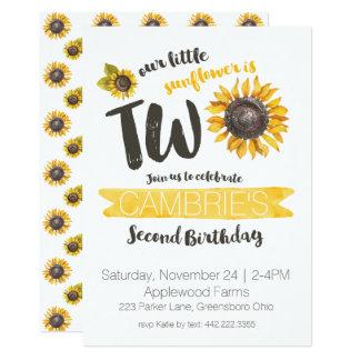 Sunflower Second Birthday Invitation