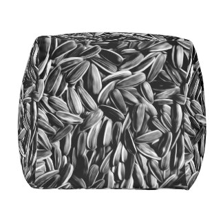 Sunflower Seeds - Black and White Photograph Pouf