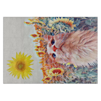 "Sunflower Sentinel 11.5"" x 8"" Glass Cutting Board"