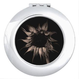 Sunflower - Sepia Fine Art Photograph Unique Cool Vanity Mirrors