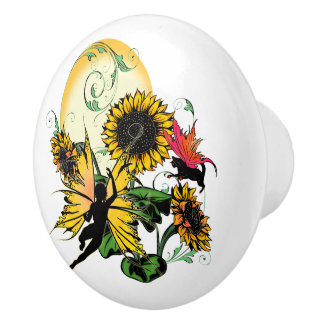 Sunflower Shadow Fairy and Cosmic Cat Ceramic Knob
