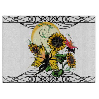 Sunflower Shadow Fairy and Cosmic Cat Cutting Board