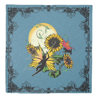 Sunflower Shadow Fairy and Cosmic Cat Duvet Cover