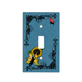 Sunflower Shadow Fairy and Cosmic Cat Light Switch Cover