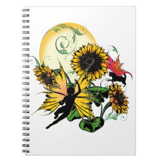 Sunflower Shadow Fairy and Cosmic Cat Notebook