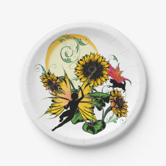 Sunflower Shadow Fairy and Cosmic Cat Paper Plate