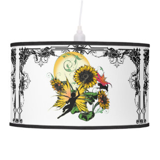 Sunflower Shadow Fairy and Cosmic Cat Pendant Lamp