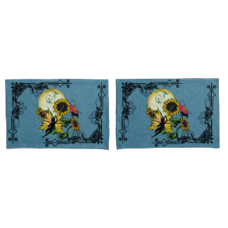 Sunflower Shadow Fairy and Cosmic Cat Pillowcase