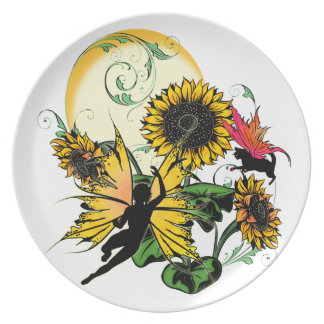Sunflower Shadow Fairy and Cosmic Cat Plate