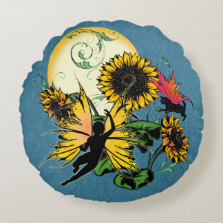 Sunflower Shadow Fairy and Cosmic Cat Round Pillow
