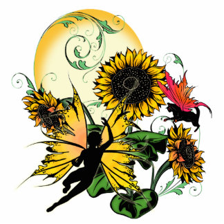 Sunflower Shadow Fairy and Cosmic Cat Standing Photo Sculpture