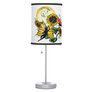 Sunflower Shadow Fairy and Cosmic Cat Table Lamp