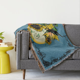 Sunflower Shadow Fairy and Cosmic Cat Throw Blanket