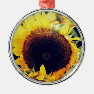 Sunflower Silver-Colored Round Ornament