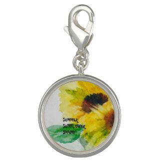 Sunflower silver plate charms