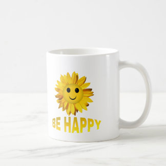 "Sunflower Smiley Face ""Be Happy"" Mugs/Cups Coffee Mug"