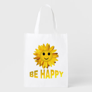 Sunflower Smiley Face Reusable Grocery Bag