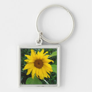 Sunflower Solo Silver-Colored Square Keychain