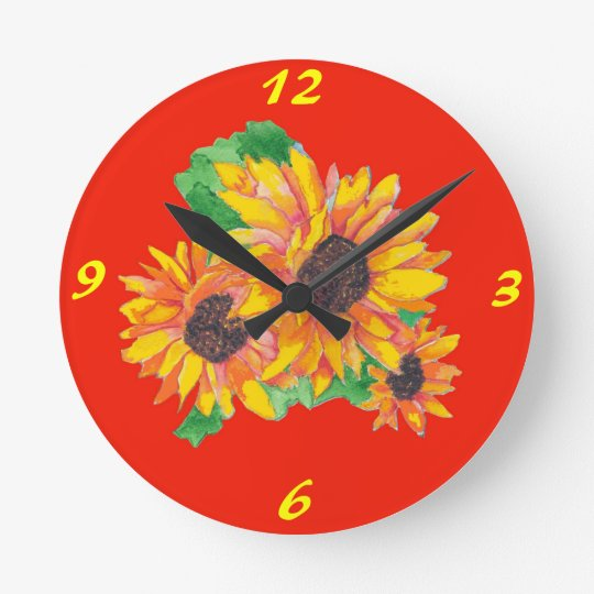 Sunflower Splash Wall Clock