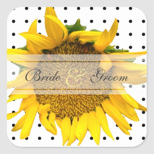 Sunflower Square Dotted wedding Stickers