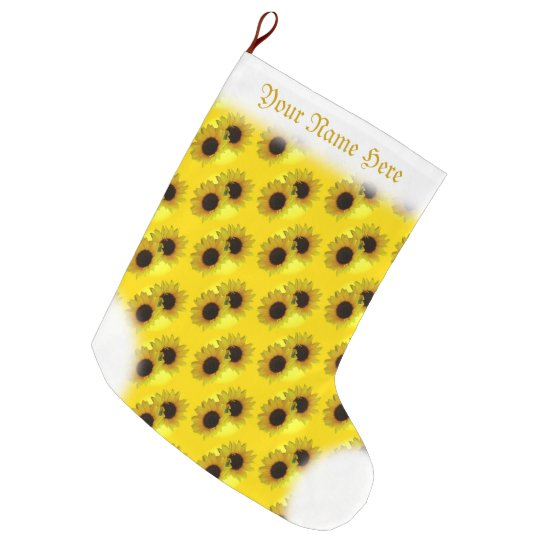 Sunflower Stocking Gold Christmas Stocking Custom Large Christmas Stocking