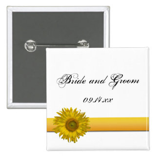 Sunflower Stripe Wedding 2 Inch Square Button