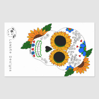 Sunflower Sugar Skull Sticker