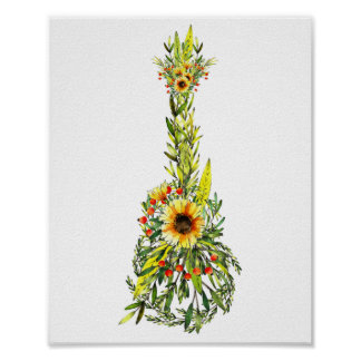 Sunflower Summer Ukulele Poster Print 8 x 10