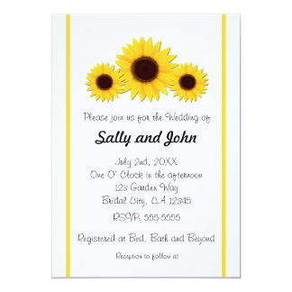 "Sunflower Sunflowers on White Wedding Invitations 5"" X 7"" Invitation Card"